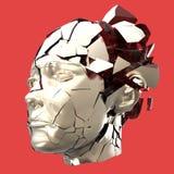 Στιλπνή επικεφαλής ανατίναξη γυναικών που κλείνει με παντζούρια - πονοκέφαλος, διανοητικά προβλήματα, πίεση Στοκ Φωτογραφίες