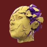 Στιλπνή επικεφαλής ανατίναξη γυναικών που κλείνει με παντζούρια - πονοκέφαλος, διανοητικά προβλήματα, πίεση Στοκ φωτογραφία με δικαίωμα ελεύθερης χρήσης