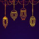 Στιλπνοί λαμπτήρες για τον εορτασμό Ramadan Kareem Στοκ Φωτογραφία