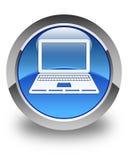 Στιλπνό μπλε στρογγυλό κουμπί εικονιδίων lap-top Στοκ φωτογραφία με δικαίωμα ελεύθερης χρήσης