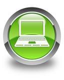 Στιλπνό πράσινο στρογγυλό κουμπί εικονιδίων lap-top Στοκ εικόνα με δικαίωμα ελεύθερης χρήσης