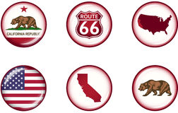Στιλπνό σύνολο εικονιδίων Καλιφόρνιας στοκ φωτογραφίες με δικαίωμα ελεύθερης χρήσης