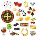 Στιλπνό σύνολο εξαρτημάτων συμβόλων εξοπλισμού χαρτοπαικτικών λεσχών απεικόνιση αποθεμάτων