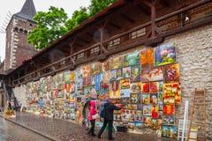 Στοά ελαιοχρωμάτων στους τοίχους πόλεων της Κρακοβίας Στοκ φωτογραφίες με δικαίωμα ελεύθερης χρήσης
