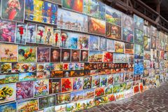 Στοά ελαιοχρωμάτων στους τοίχους πόλεων της Κρακοβίας Στοκ Φωτογραφία