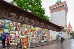 Στοά ελαιοχρωμάτων στους τοίχους πόλεων της Κρακοβίας Στοκ φωτογραφία με δικαίωμα ελεύθερης χρήσης