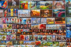 Στοά ελαιοχρωμάτων στους τοίχους πόλεων της Κρακοβίας Στοκ Φωτογραφίες