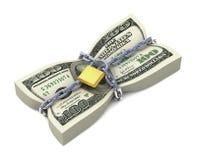 Στοίβα δολαρίων που δένεται από τις αλυσίδες Στοκ Εικόνα