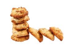 Στοίβα των μπισκότων που απομονώνονται στο λευκό Στοκ Εικόνες