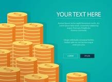 Στοίβες των χρυσών νομισμάτων Εισόδημα και κέρδη διάνυσμα χρήσης αποθεμάτων απεικόνισης σχεδίου σας απεικόνιση αποθεμάτων