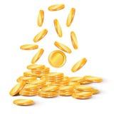 Στοίβες των χρυσών νομισμάτων Συλλογή των απεικονίσεων, εικονίδια του χρυσού Στοκ Εικόνες