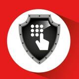 Στοιχεία ασπίδων ασφάλειας κωδικού πρόσβασης εκμετάλλευσης χεριών Στοκ Εικόνες