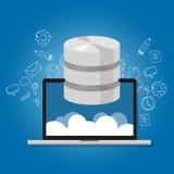 Στοιχεία βάσεων δεδομένων στο lap-top εικονιδίων συμβόλων αποθήκευσης πολυμέσων δικτύων σύννεφων Στοκ Εικόνες