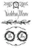 Στοιχεία γαμήλιου σχεδίου καθορισμένα, floral πλαίσιο και σύντομο χρονογράφημα Στοκ Εικόνα