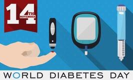 Στοιχεία για να τιμήσει την μνήμη ελέγχου και μέτρησης γλυκόζης την ημέρα παγκόσμιου διαβήτη, διανυσματική απεικόνιση Στοκ Εικόνες