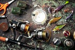 Στοιχεία για την αλιεία των εξελίκτρων ράβδων Στοκ Εικόνα