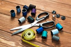 Στοιχεία για το ράψιμο ή DIY Στοκ εικόνα με δικαίωμα ελεύθερης χρήσης