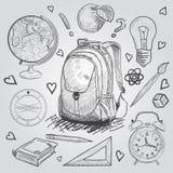 στοιχεία εκπαίδευσης Συρμένο χέρι διανυσματικό σύνολο σχολικών προμηθειών Doodle Στοκ Εικόνα