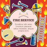 Στοιχεία εξοπλισμού πυροσβεστών στην κόκκινη αφίσα υποβάθρου πυρκαγιάς στο σχέδιο ύφους αυτοκόλλητων ετικεττών Διανυσματική κάρτα απεικόνιση αποθεμάτων