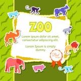 Στοιχεία ζώων ζωολογικών κήπων στην πράσινη αφίσα υποβάθρου στο σχέδιο ύφους αυτοκόλλητων ετικεττών Διανυσματική απεικόνιση καρτώ Στοκ Εικόνες