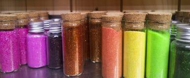 Στοιχεία διακοσμήσεων Colorfull στα μπουκάλια γυαλιού Στοκ Εικόνες