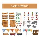 Στοιχεία διεπαφών παιχνιδιών, κουμπιά, εικονίδια Στοκ Εικόνες