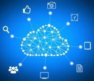 Στοιχεία και εικονίδια υπολογιστών υπολογισμού σύννεφων γύρω Στοκ Φωτογραφία