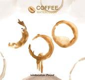 Στοιχεία καφέ, υψηλή ανάλυση χρωμάτων Watercolor Στοκ Φωτογραφία