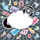 Στοιχεία μουσικής με τη λεκτική φυσαλίδα Στοκ φωτογραφία με δικαίωμα ελεύθερης χρήσης
