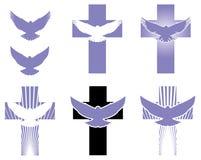 Στοιχεία λογότυπων σταυρών και περιστεριών Στοκ εικόνες με δικαίωμα ελεύθερης χρήσης