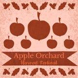 Στοιχεία περικοπών εγγράφου χεριών συγκομιδών Αφίσα, έμβλημα, πρόσκληση οπωρώνας φύλλων καρπών κλάδων μήλων μήλων Φεστιβάλ συγκομ διανυσματική απεικόνιση