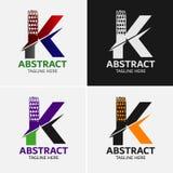 Στοιχεία προτύπων σχεδίου εικονιδίων λογότυπων γραμμάτων Κ Στοκ Εικόνες
