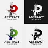 Στοιχεία προτύπων σχεδίου εικονιδίων λογότυπων γραμμάτων Π Στοκ Φωτογραφίες