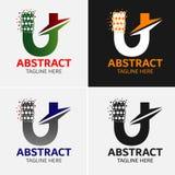 Στοιχεία προτύπων σχεδίου εικονιδίων λογότυπων γραμμάτων U Στοκ εικόνα με δικαίωμα ελεύθερης χρήσης