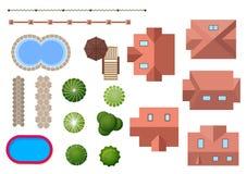 Στοιχεία σπιτιών, τοπίων και ιδιοκτησίας Στοκ Εικόνες