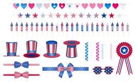Στοιχεία σχεδίου που τίθενται για το κόμμα διακοπών αμερικανικού εορτασμού στοκ φωτογραφίες