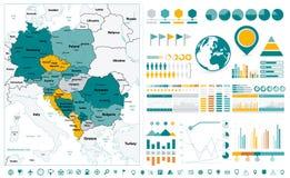 Στοιχεία σχεδίου χαρτών και Infographic της κεντρικής Ευρώπης Στο λευκό ελεύθερη απεικόνιση δικαιώματος
