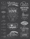Στοιχεία σχεδίου αγάπης πινάκων κιμωλίας Ελεύθερη απεικόνιση δικαιώματος