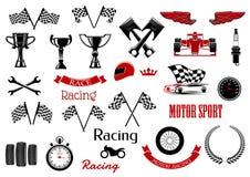 Στοιχεία σχεδίου για το motosport και τον αγώνα διανυσματική απεικόνιση