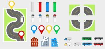 Στοιχεία σχεδίου εικονικής παράστασης πόλης με το δρόμο, μεταφορά, κτήρια, καρφίτσες ναυσιπλοΐας Διανυσματική απεικόνιση eps 10 ο Στοκ Φωτογραφίες