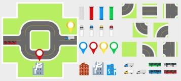 Στοιχεία σχεδίου εικονικής παράστασης πόλης με το δρόμο, μεταφορά, κτήρια, καρφίτσες ναυσιπλοΐας Διανυσματική απεικόνιση eps 10 ο Στοκ Εικόνα