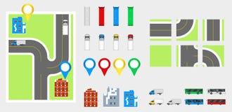 Στοιχεία σχεδίου εικονικής παράστασης πόλης με το δρόμο, μεταφορά, κτήρια, καρφίτσες ναυσιπλοΐας Διανυσματική απεικόνιση eps 10 ο Στοκ εικόνες με δικαίωμα ελεύθερης χρήσης