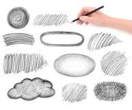 Στοιχεία σχεδίου κακογραφιών χεριών και μολυβιών Στοκ εικόνα με δικαίωμα ελεύθερης χρήσης