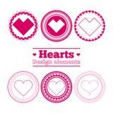 Στοιχεία σχεδίου καρδιών Στοκ φωτογραφία με δικαίωμα ελεύθερης χρήσης