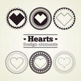 Στοιχεία σχεδίου καρδιών Στοκ Εικόνες