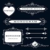 Στοιχεία σχεδίου μονογραμμάτων και διακόσμηση σελίδων - διανυσματικό σύνολο, χαριτωμένο πρότυπο Καλλιγραφικό κομψό σχέδιο λογότυπ απεικόνιση αποθεμάτων