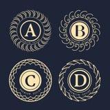 Στοιχεία σχεδίου μονογραμμάτων, χαριτωμένο πρότυπο Κομψό σχέδιο λογότυπων τέχνης γραμμών ανασκόπησης η όμορφη μεγάλη κενή εκμετάλ Στοκ εικόνα με δικαίωμα ελεύθερης χρήσης