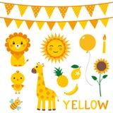 Στοιχεία σχεδίου στο κίτρινο χρώμα Στοκ Εικόνες