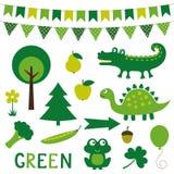 Στοιχεία σχεδίου στο πράσινο χρώμα Στοκ εικόνες με δικαίωμα ελεύθερης χρήσης