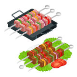 Στοιχεία σχεδίου σχαρών Θερινά τρόφιμα σχαρών Μαγειρεύοντας συσκευή πικ-νίκ Επίπεδη isometric απεικόνιση Σαββατοκύριακο οικογενει διανυσματική απεικόνιση